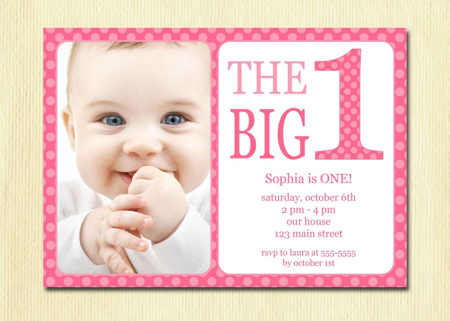 Printable Baby First Birthday Invitations