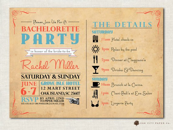 Printable Bachelorette Party Itinerary Templates