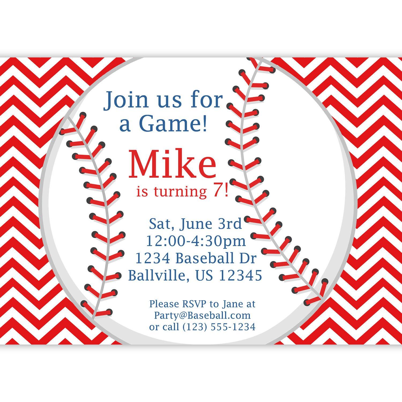 Printable Baseball Birthday Party Invitations