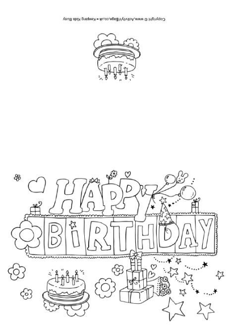 Printable Birthday Cards To Color For Dad