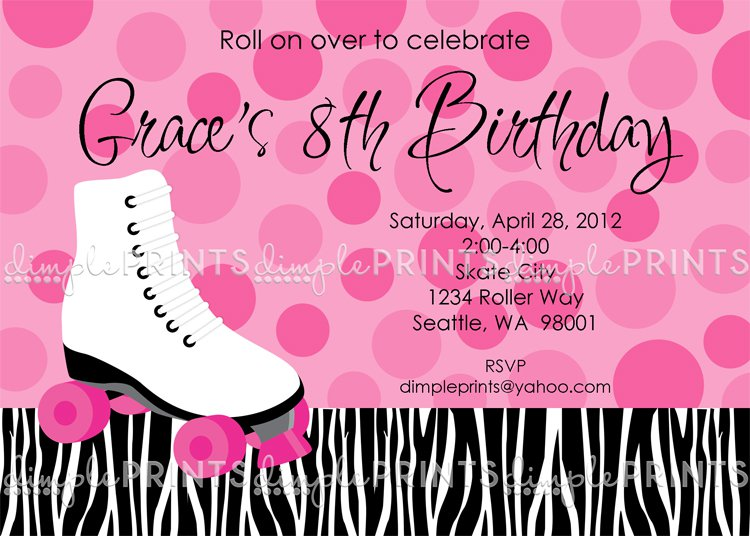 Printable Birthday Invitations Roller Skating