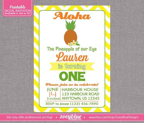 Printable Chevron Luau Hawaiian Party Invitation