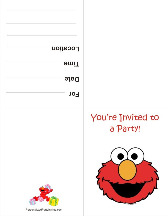 Printable Elmo Birthday Invitations Template