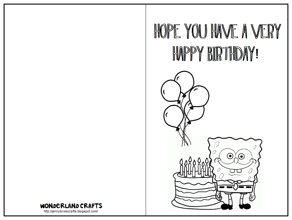 Printable Half Fold Birthday Cards