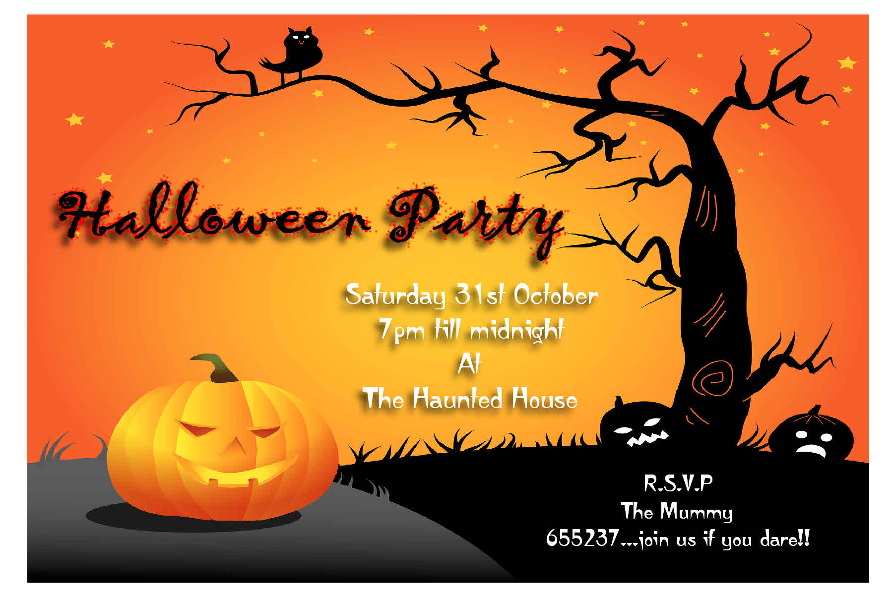 Printable Halloween Birthday Party Invitations Free