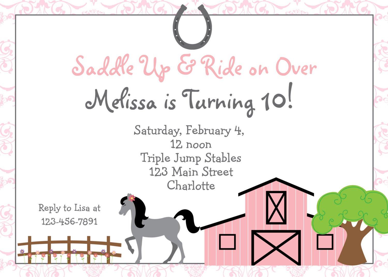Printable Horse Birthday Party Invitations Free