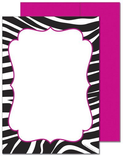 invitations zebra print, Birthday invitations