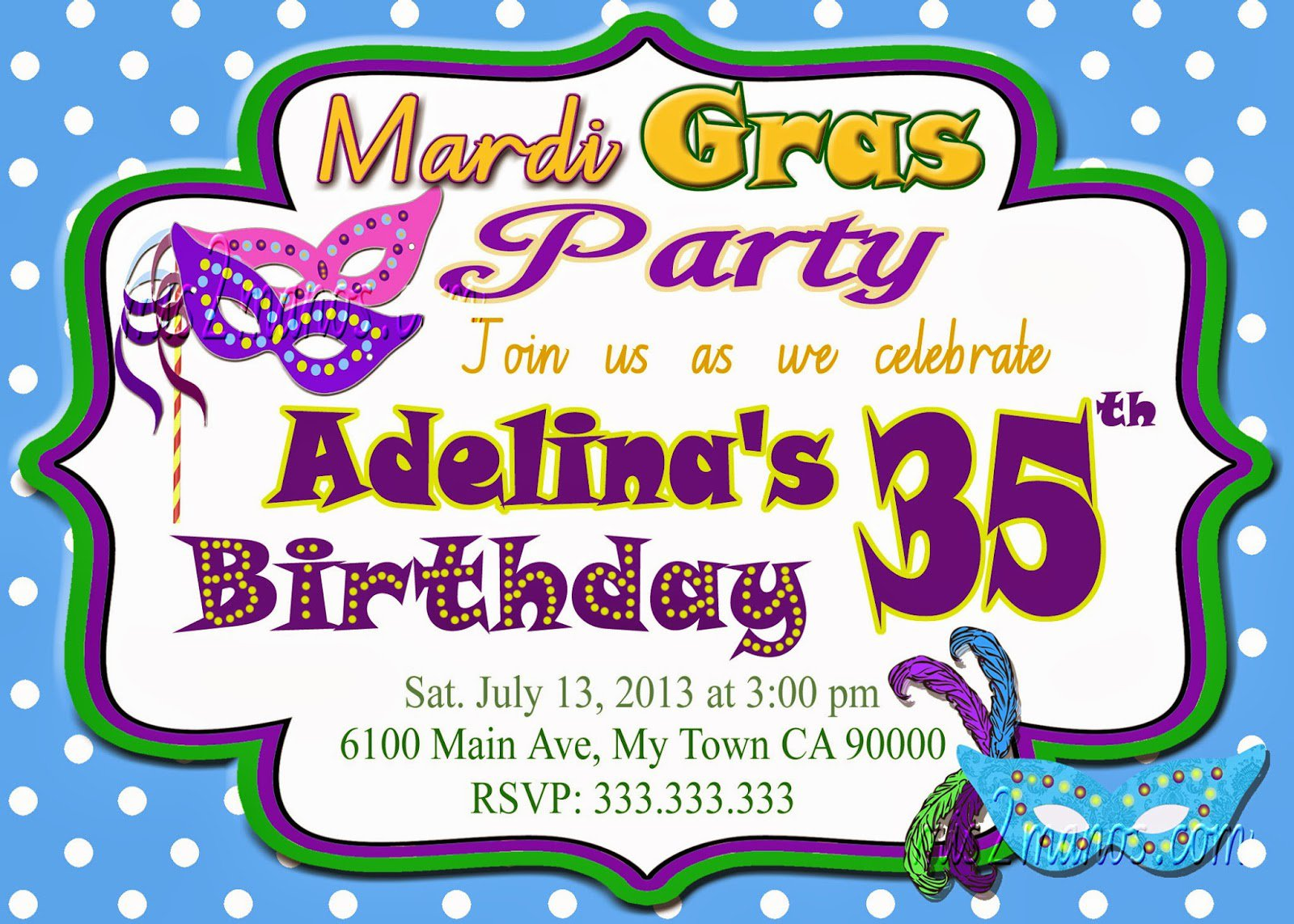 Printable Mardi Gras Party Invitations