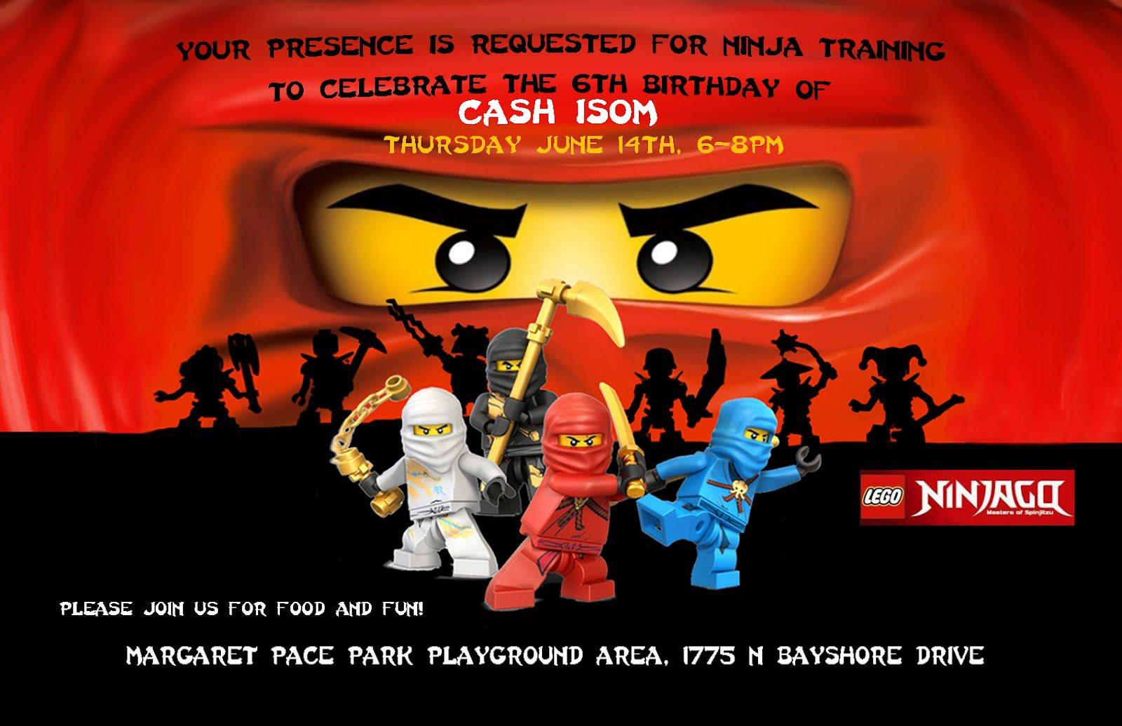 Printable Ninjago Birthday Invitations