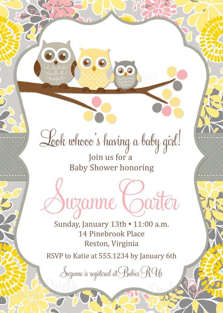 Printable Owl Boy Baby Shower Invitations