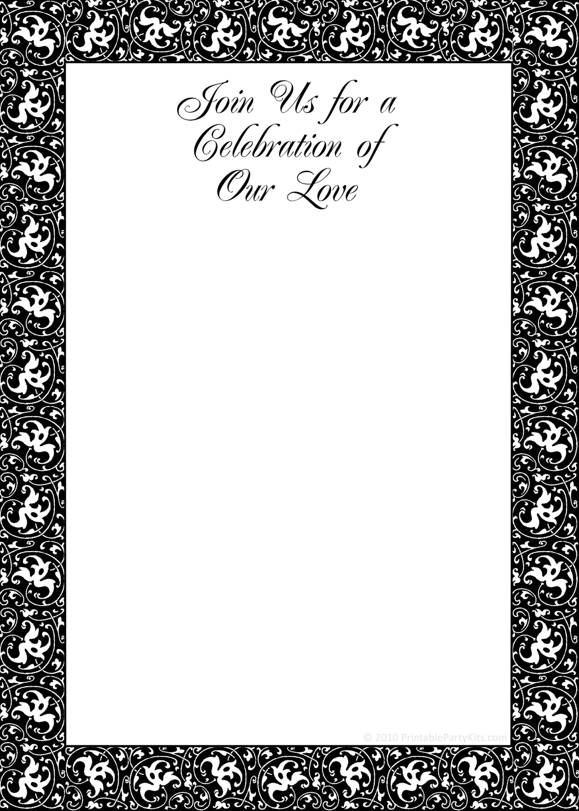 Printable Party Invitations Black And White