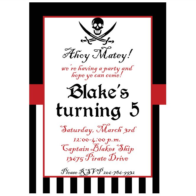 Printable Pirate Birthday Invitations