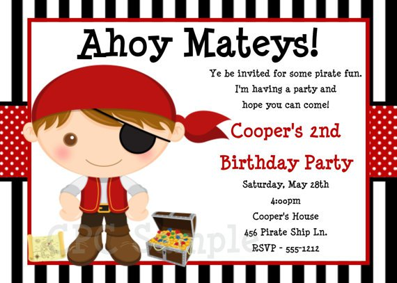 Printable Pirate Birthday Party Invitations