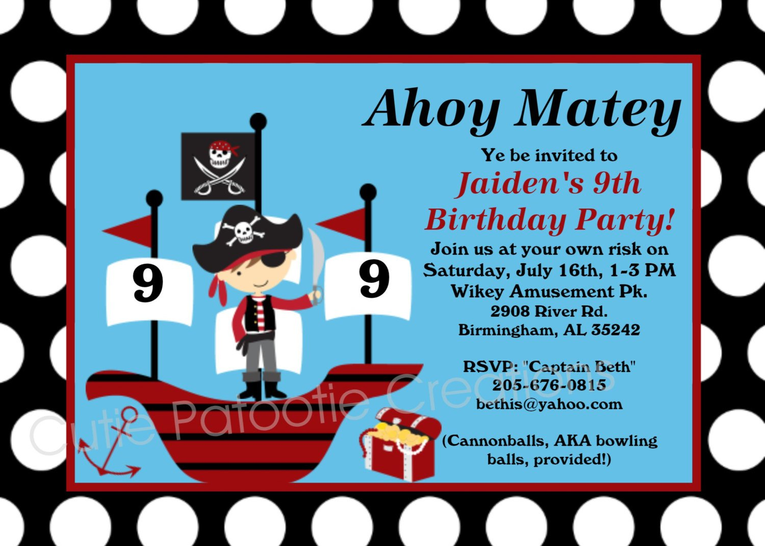 Printable Pirate Themed Birthday Invitations