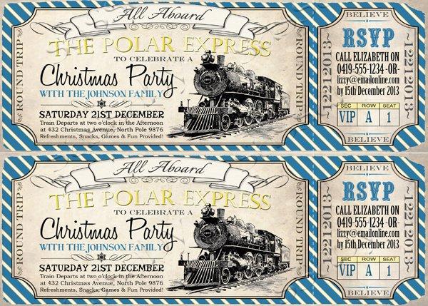 Printable Polar Express Pajama Party Invitation