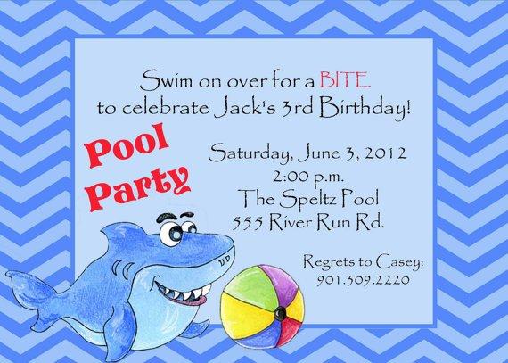 Printable Shark Pool Party Invitations