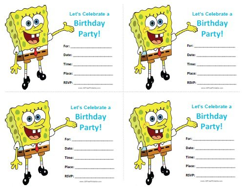 Printable Spongebob Birthday Invitations Kids