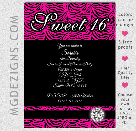 Printable Sweet Sixteen Invitation Templates
