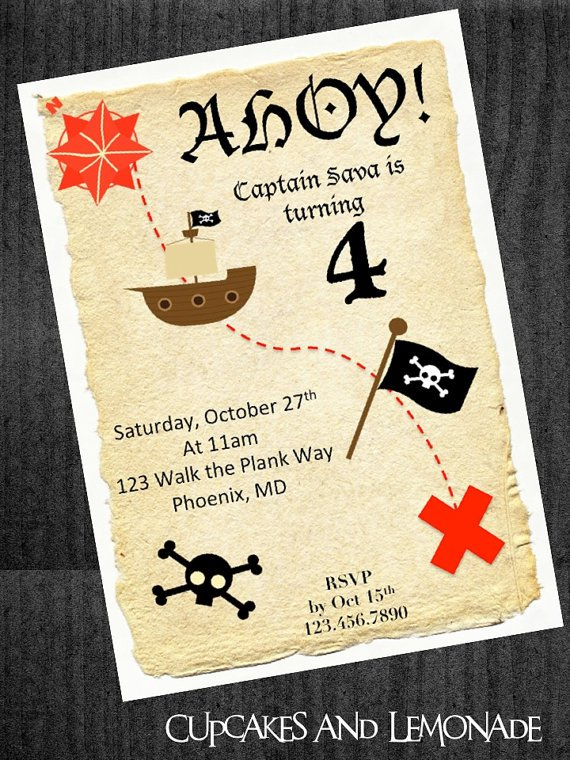 Printable Treasure Map Party Invitations