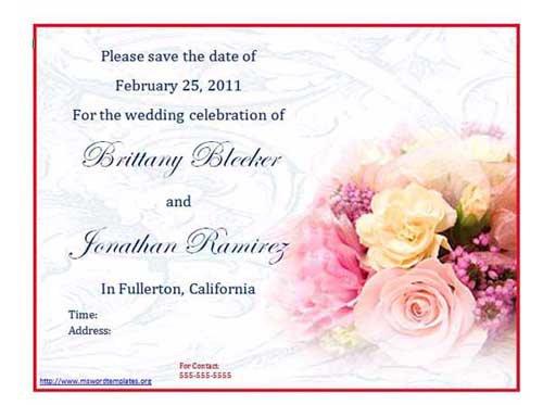 Printable Wedding Invitation Templates For Word