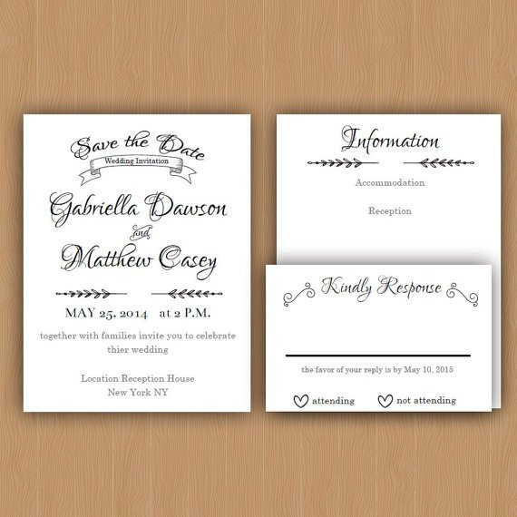 Printable Wedding Invitations Etsy