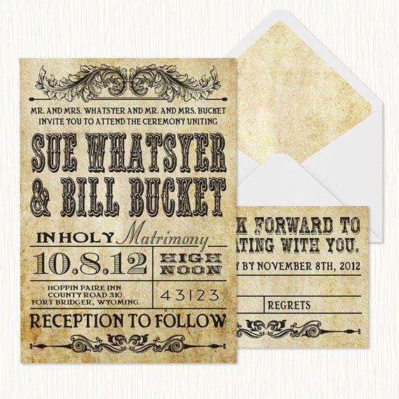 Printable Western Wedding Invitation Templates