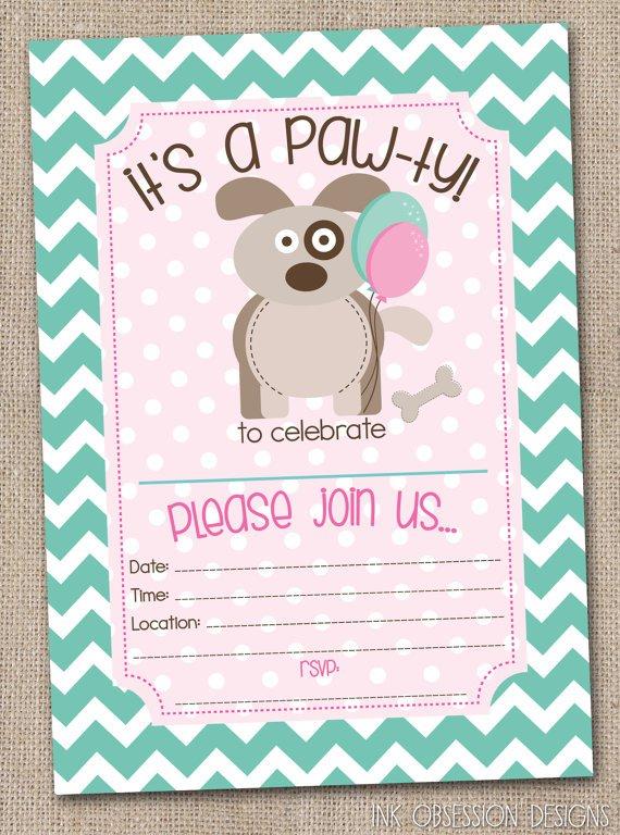 Puppy Party Invitations Etsy