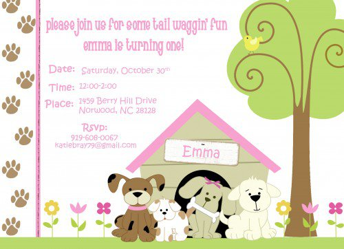 Puppy Party Invitations Printable