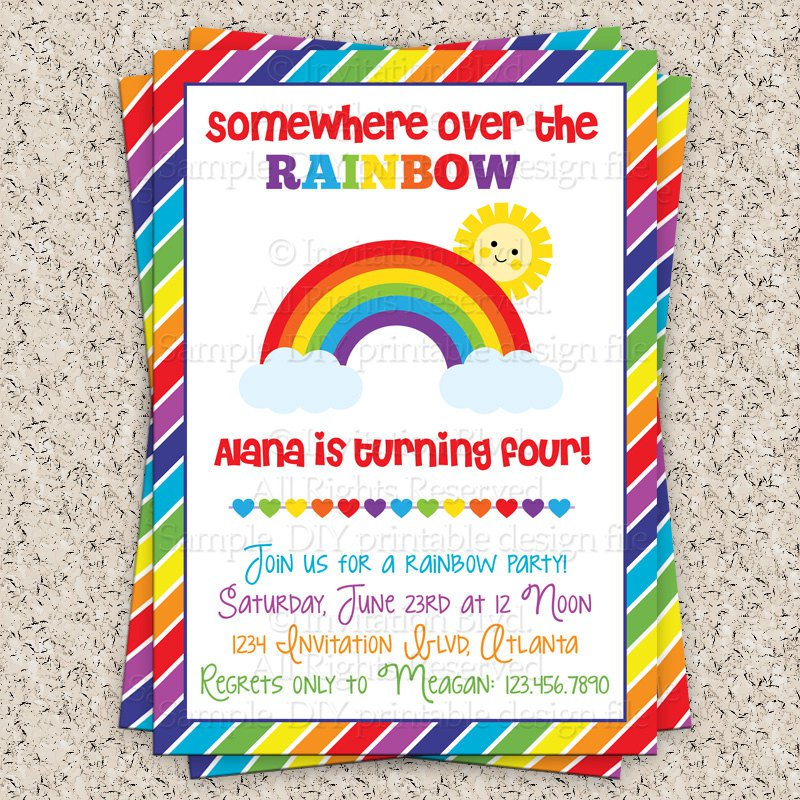 Rainbow 1st Birthday Invitations