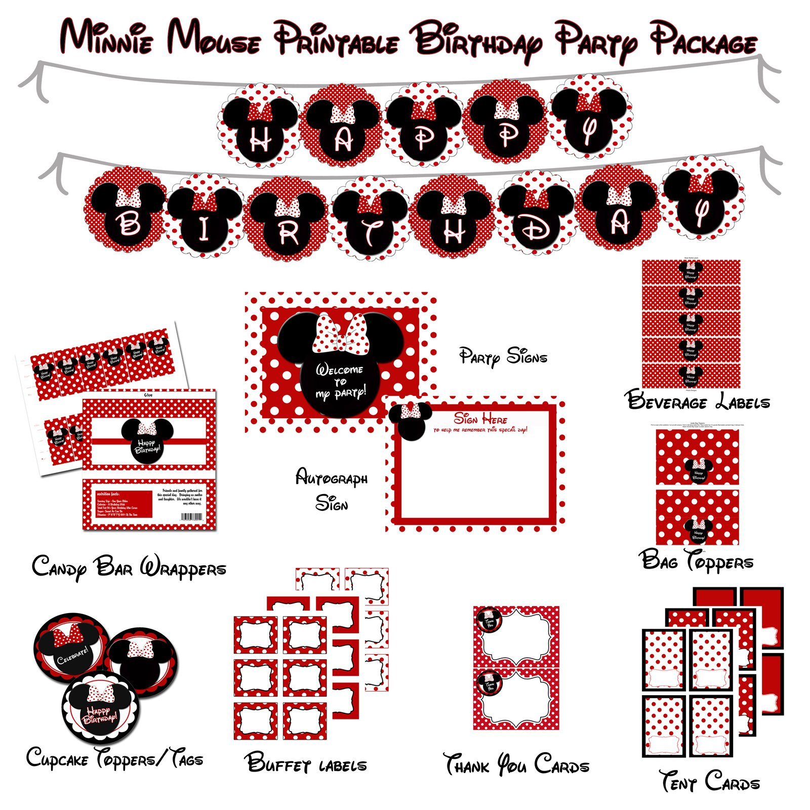 Red Minnie Mouse Party Printables