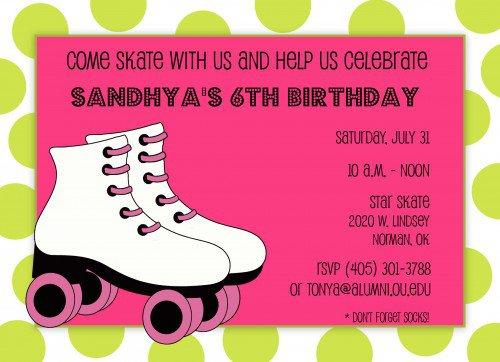 Roller Skate Birthday Invitation Templates
