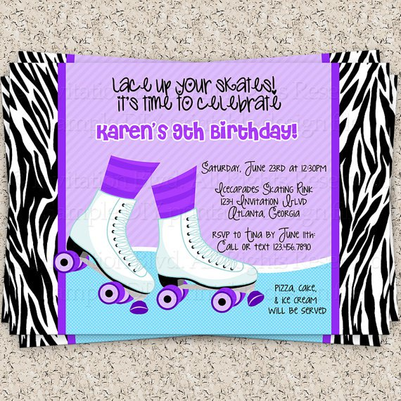 Roller Skating Birthday Party Invitations Free