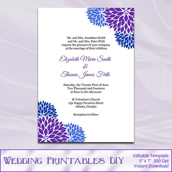 Royal Blue Wedding Invitation Templates