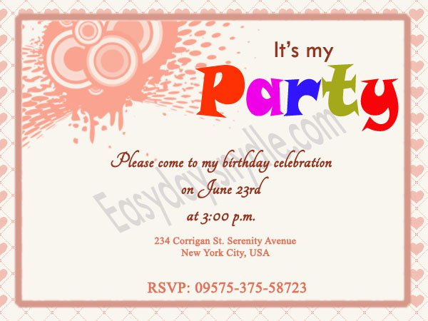 Sample Birthday Invitation