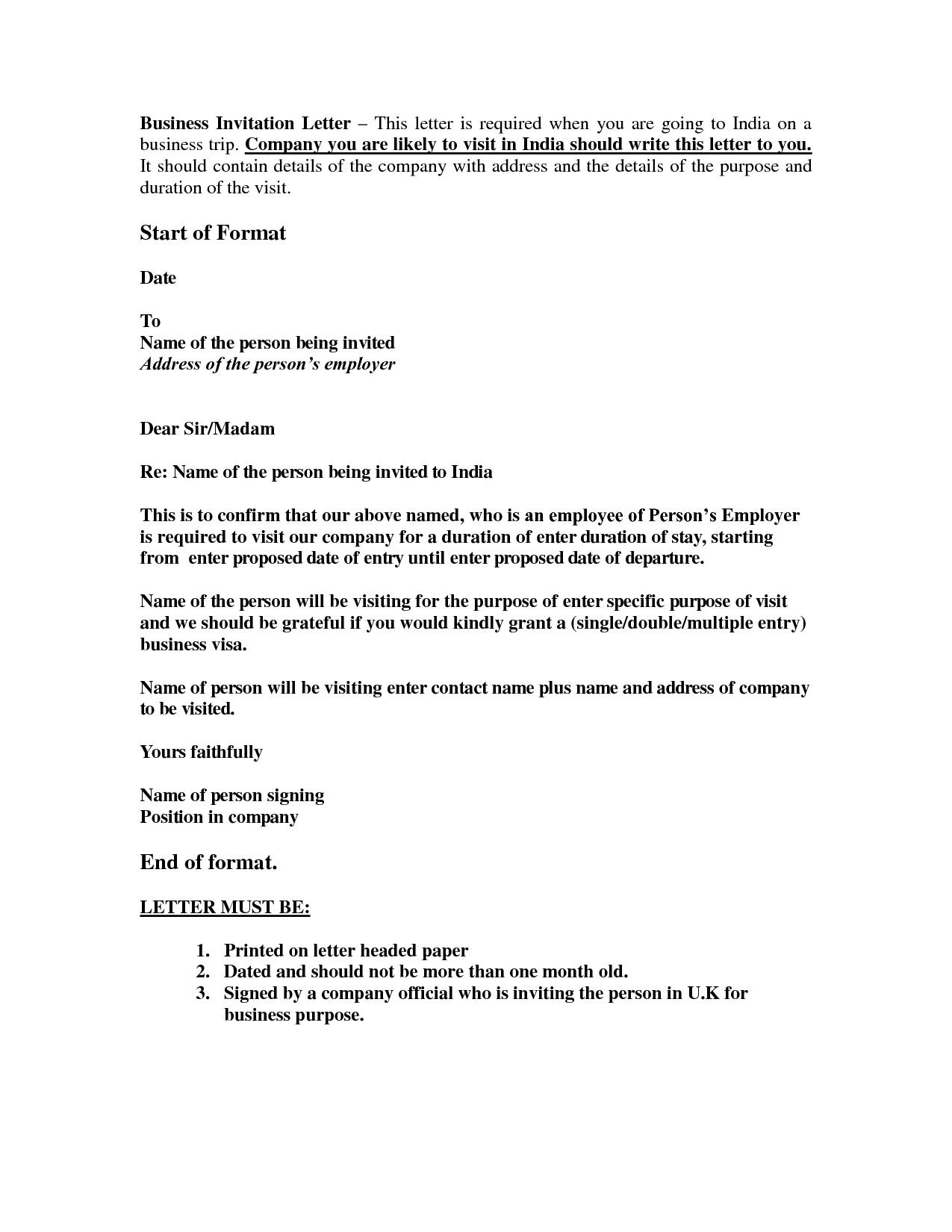 Sample Professional Invitation Letter For Visa