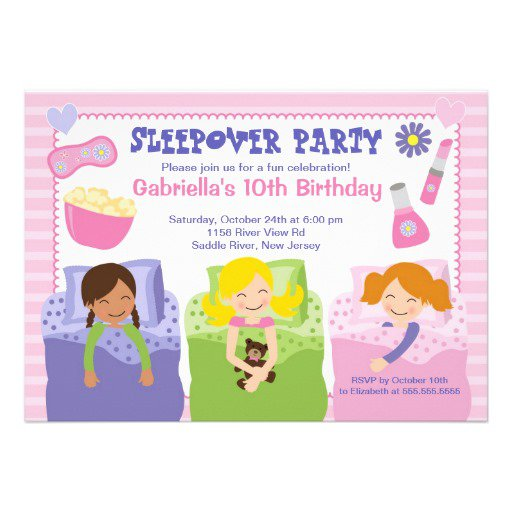 Sleep Over Birthday Invitations