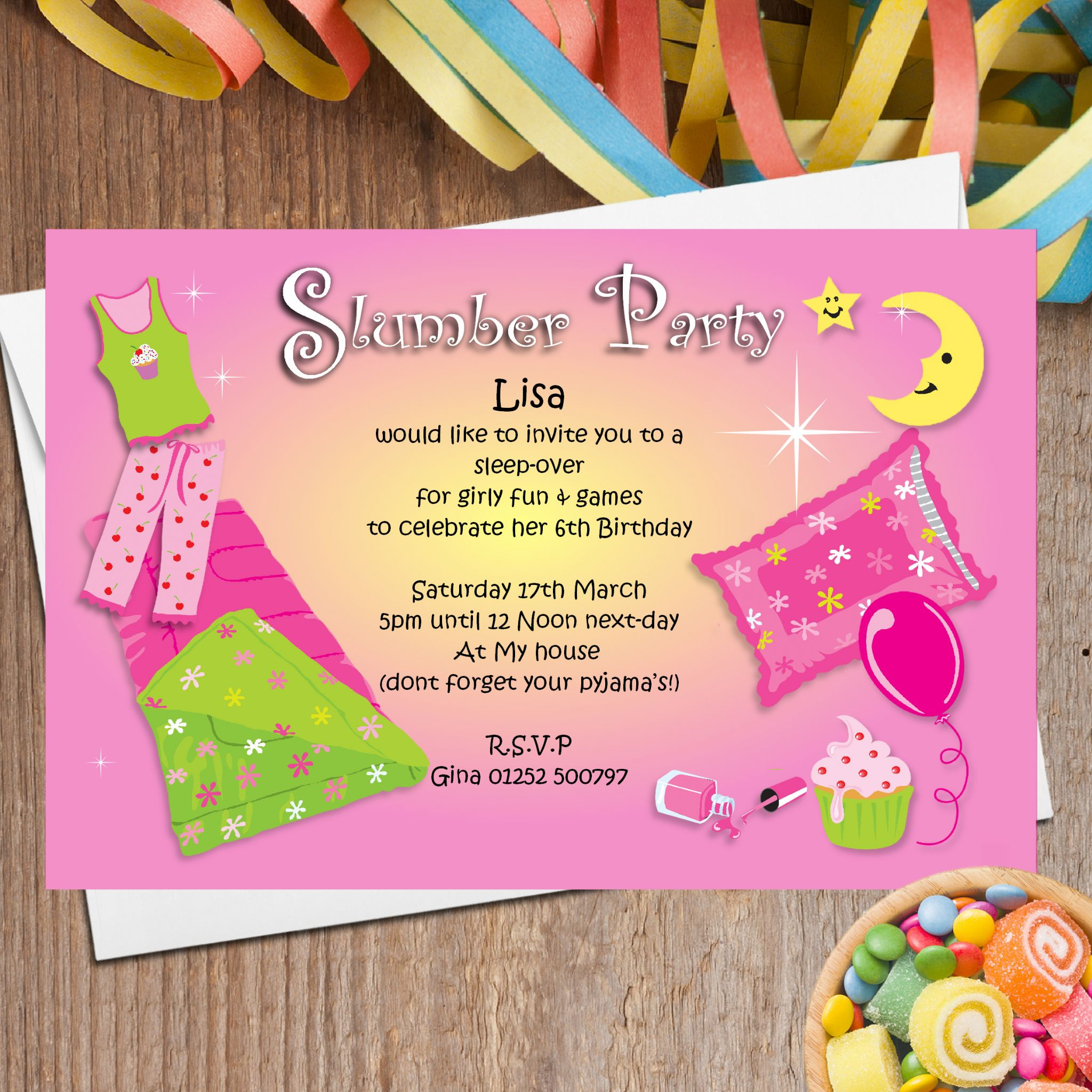 Sleep Over Party Invitations