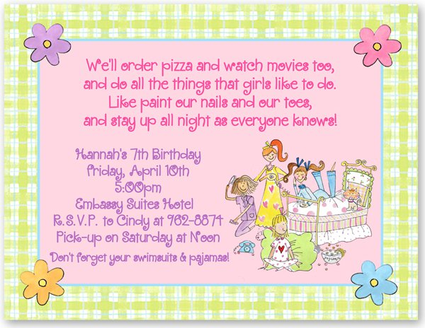 Sleepover Party Invitations Wording