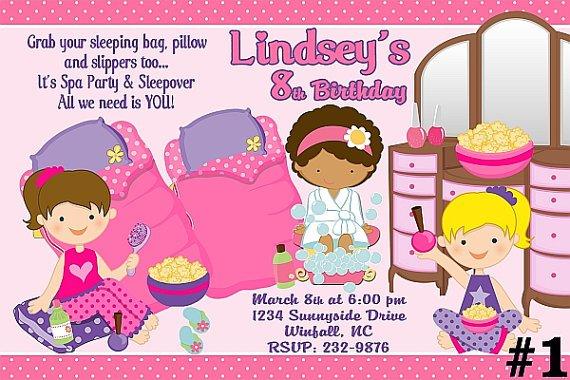 Spa Slumber Party Invitations Printable