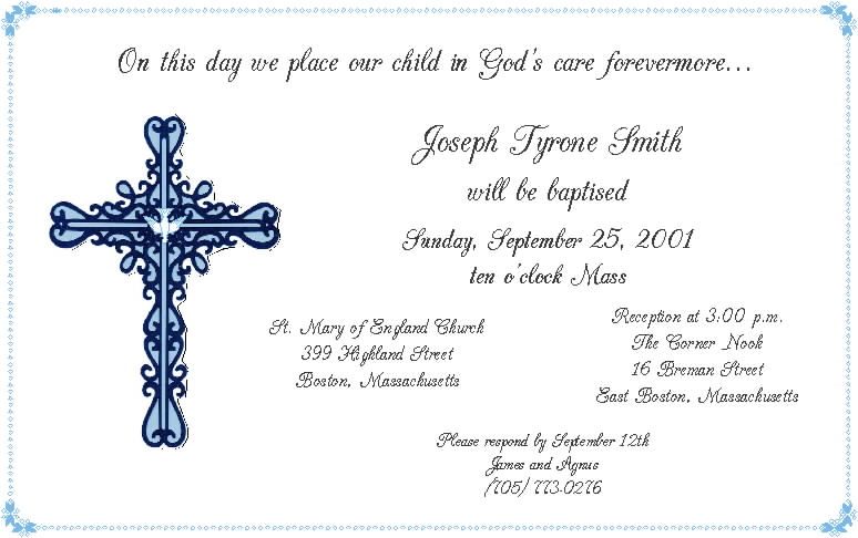 Spanish Baptism Invitations Cards