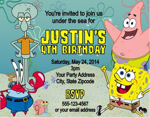 Spongebob Party Invitations Personalized
