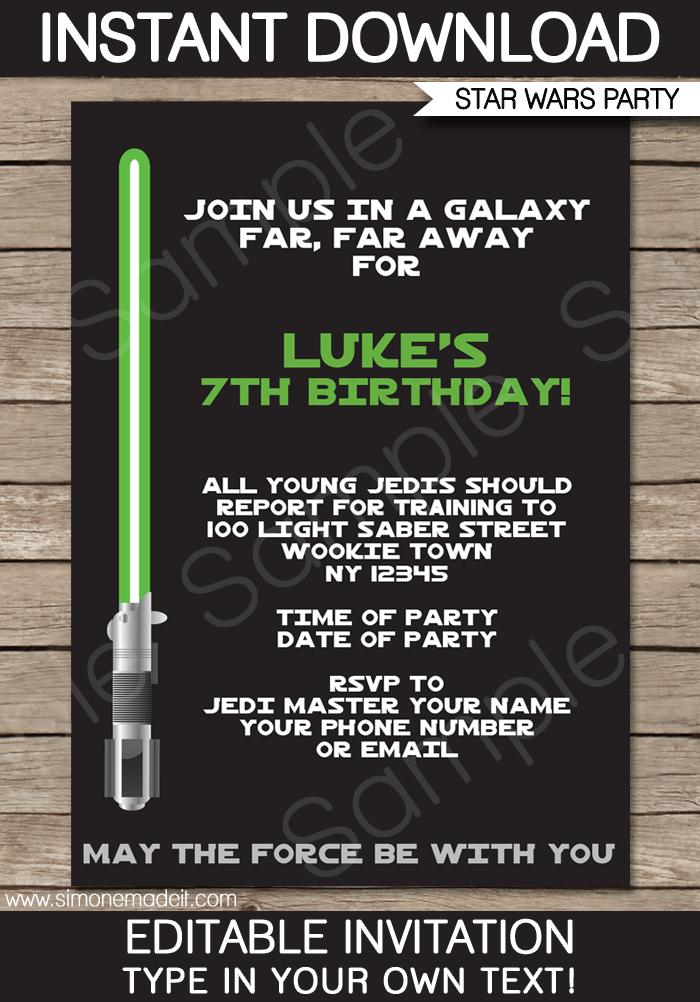 Star Wars Birthday Invitations Printable