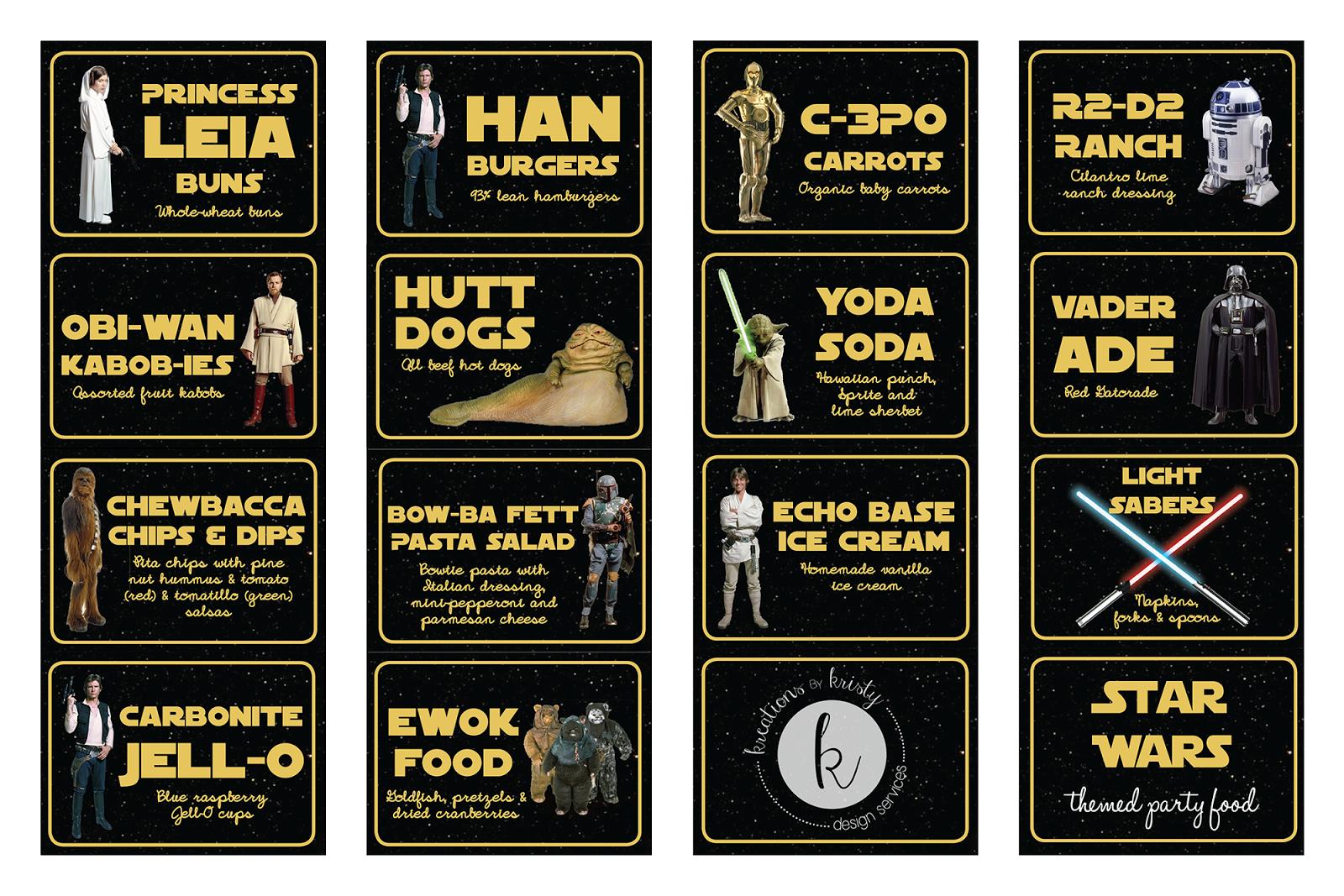 Star Wars Food Label Printables