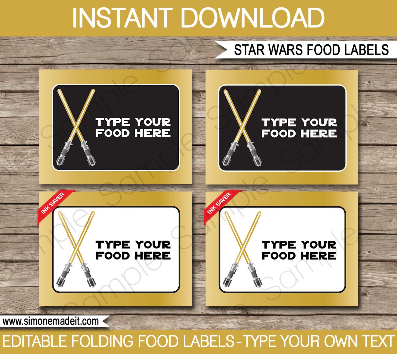 Star Wars Food Labels Editable