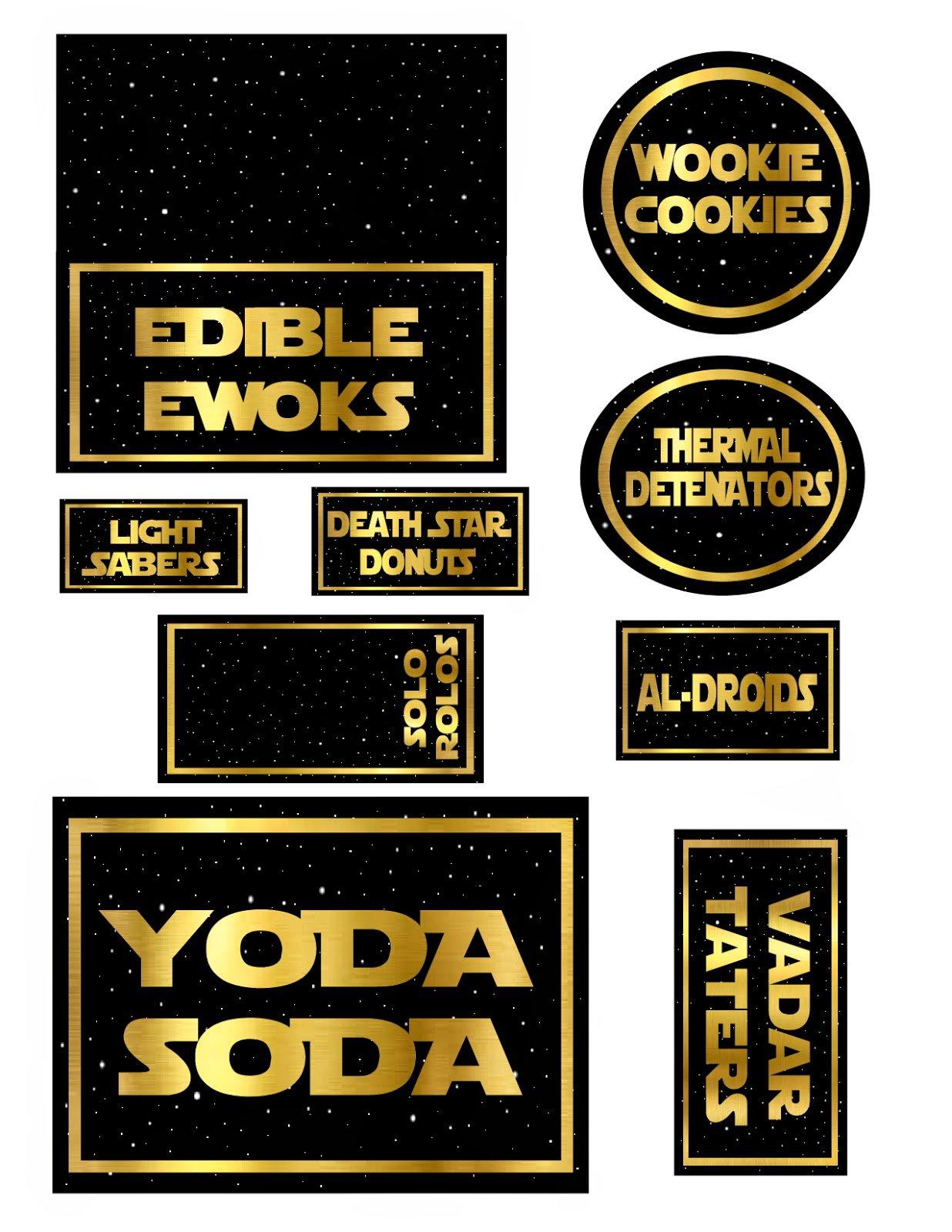 Star Wars Food Labels Free Printables