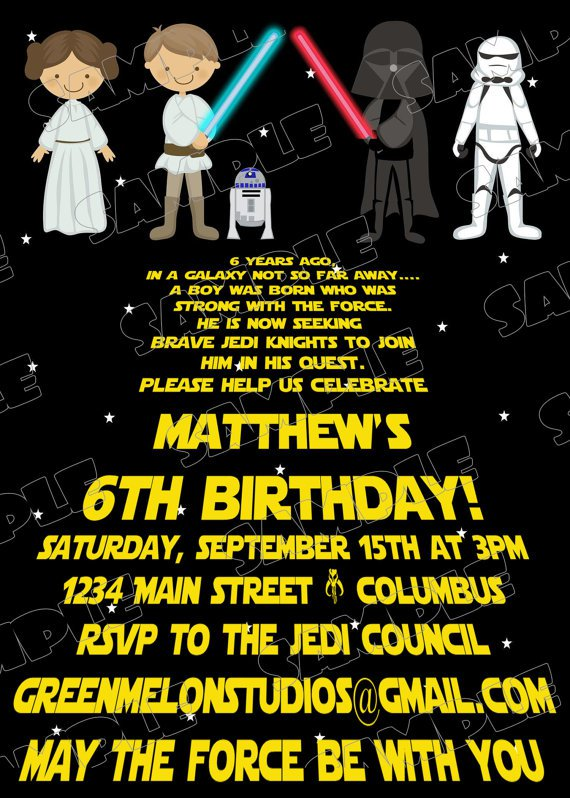 Star Wars Invitations Printable Birthday Card