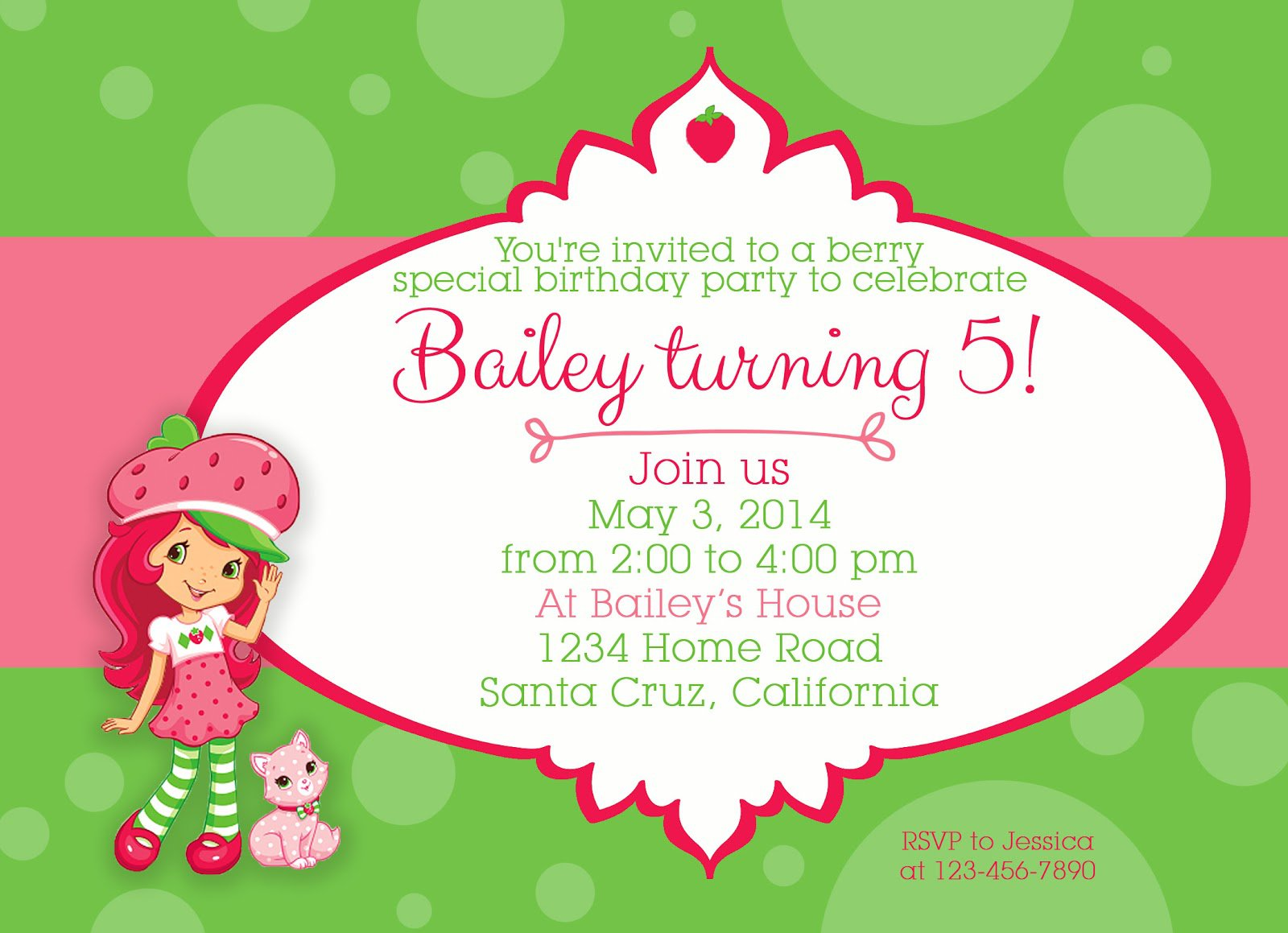 strawberry shortcake birthday invitations