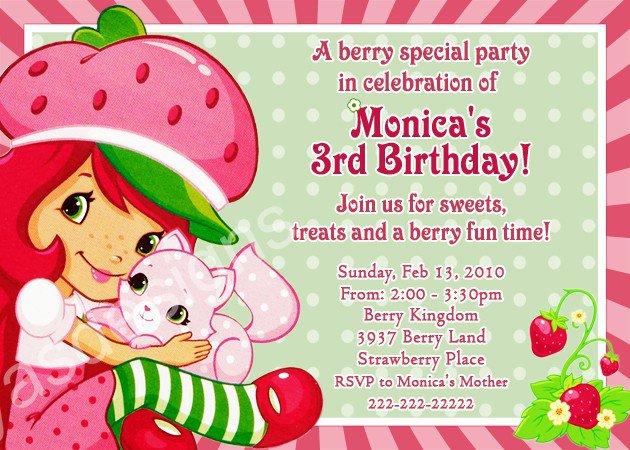 Strawberry Shortcake Birthday Party Invitations Free Printable