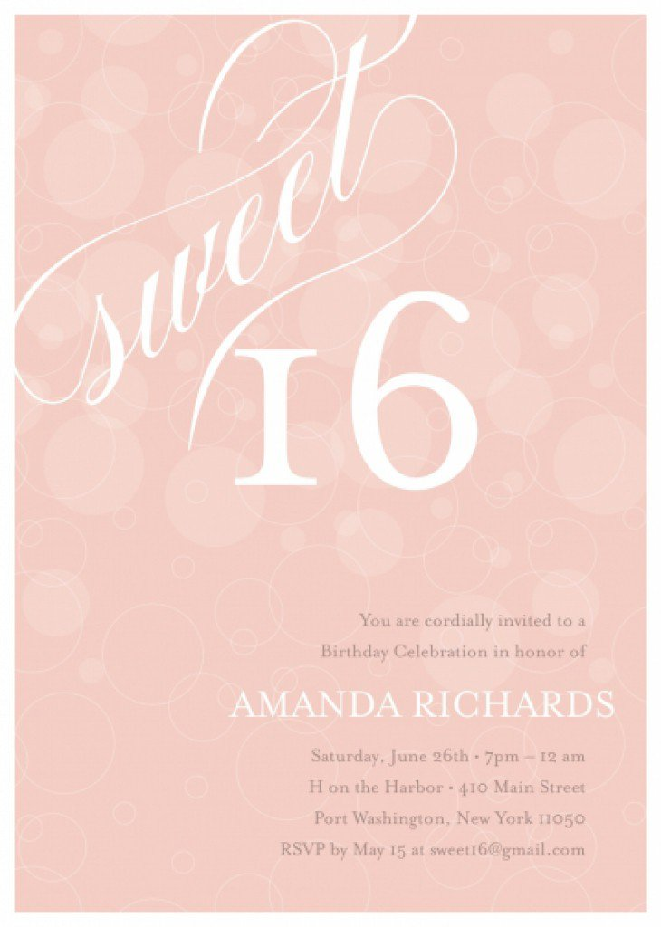Sweet 16 Printable Invitation Templates