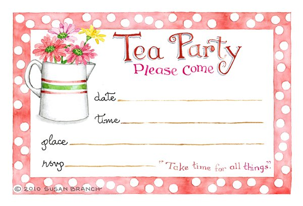 Tea party blank invitations for Tea party menu template